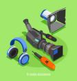 tv studio accessories isometric background vector image