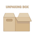 unpacking box icon flat style vector image vector image