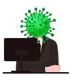 virus character human body head character vector image vector image