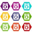 washing machine icons set 9 vector image vector image