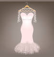 wedding dress with lace vector image