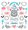 wedding graphic set arrows hearts laurel vector image vector image