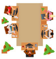 workplace office process concept and web style vector image vector image