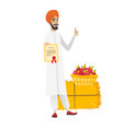 young hindu farmer holding a certificate vector image vector image