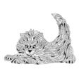 monochrome hand drawn zentagle of cat Coloring vector image