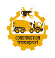 logo concrete mixers construction vehicles vector image
