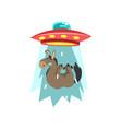 alien ufo spaceship taking away donkey flying vector image vector image
