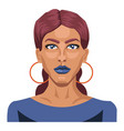 beautiful girl with blue lipstick on white vector image vector image