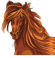 beautiful red horse with long mane vector image