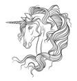 beauty head unicorn coloring vector image