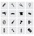 black barber icons set vector image vector image
