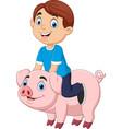 cartoon happy little boy riding pig vector image vector image