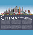 china city skyline with gray buildings blue sky vector image vector image