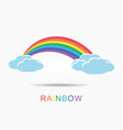 colorful rainbow with clouds vector image vector image