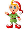 cute christmas elf waving hands vector image vector image