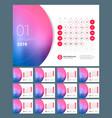 desk calendar for 2019 year design print template vector image vector image