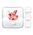 Dessert food icon with strawberry ice cream in vector image