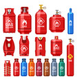 different gas cylinders with valve and meter gauge vector image