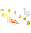 Euro coins falling vector image vector image