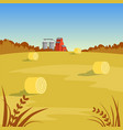 farm rural landscape with hay beautiful autumn vector image