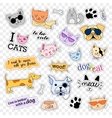 Fashion patch badges Pop art set Cats and dogs vector image