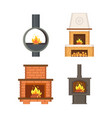 fireplace with logs and fire flames isolated set vector image vector image