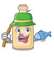 fishing apple cider in character shape vector image vector image