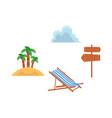 flat travelling beach vacation symbols icon vector image vector image