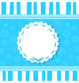 greeting card with blue bow on round template vector image