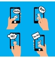 Hand smartphone message vector image