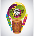 happy holi card with instrument dholak traditional vector image vector image