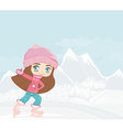 Happy little girl on skates on winter landscape vector image