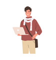 happy modern student holding laptop young smiling vector image vector image