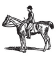 horse-riding vintage vector image vector image