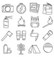 icons on the theme of travel camping on a white vector image