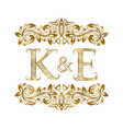 k and e vintage initials logo symbol letters vector image vector image
