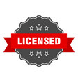 licensed red label isolated seal vector image vector image