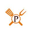 logo restaurant letter p vector image vector image