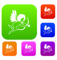 love cupid set color collection vector image vector image