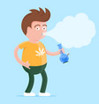 man with bong in the hand smoking marijuana vector image vector image