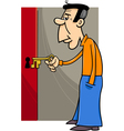man with key cartoon vector image