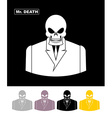 Mr death Skull wearing businessman Skeleton in an vector image vector image