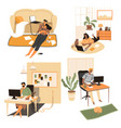 people staying at home playing computer or vector image vector image