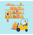 Postmen Laid Parcels Worker on Forklift Post vector image vector image