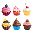 realistic of cupcakes sweets vector image vector image