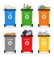 recycling garbage cans trash separation isolated vector image vector image