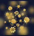 rose gold snowflakes cloud of golden glitter or vector image vector image