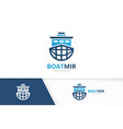 ship and planet logo combination boat vector image