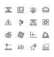 simple icon set laser cutting and metal processing vector image vector image