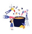 small people cooking dish in huge pot or cauldron vector image vector image
